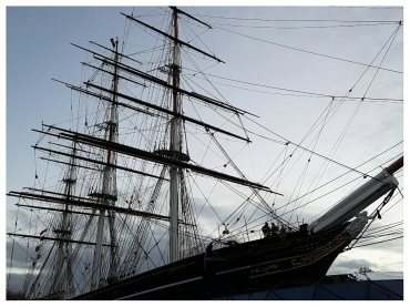The Cutty Sark in Greenwich at dusk.  Familiar to scotch drinkers...