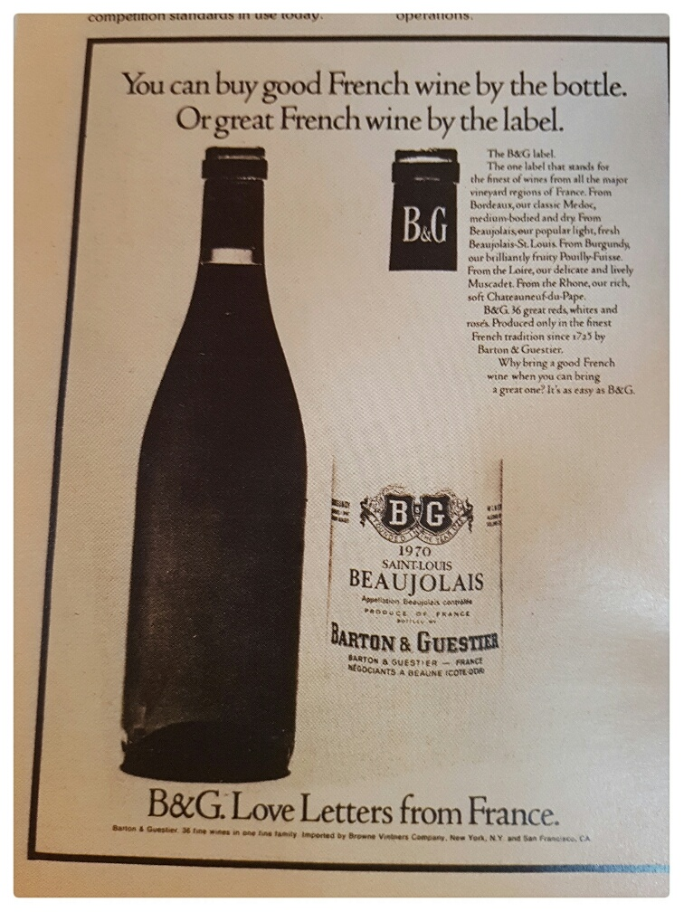 """An ad from the very first Wine Spectator.  I am old enough to remember ordering B&G at a restaurant and it was considered """"a fine choice."""""""