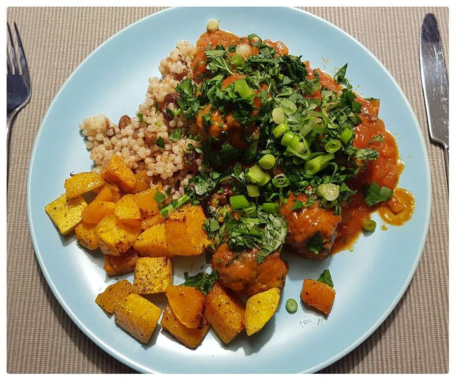 North African lamb meatballs on Israeli cous cous and roast squash